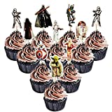 48PCS Star wars Cupcake Toppers for Kids Birthday Party Cake Decoration
