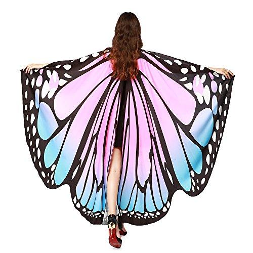 ZEELIY Faschingskostüme 168 * 135CM Damen Weiche Gewebe Schmetterlings Flügel Schal feenhafte Frauen Nymphe Pixie Weihnachten Karneval Halloween Cosplay Faschings Kostüm Zusatz Umschlagtücher