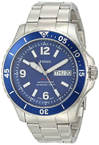 Fossil Men's FB-02 Quartz Stainless Three-Hand Watch, Color: Silver, Blue Dial (Model: FS5691)