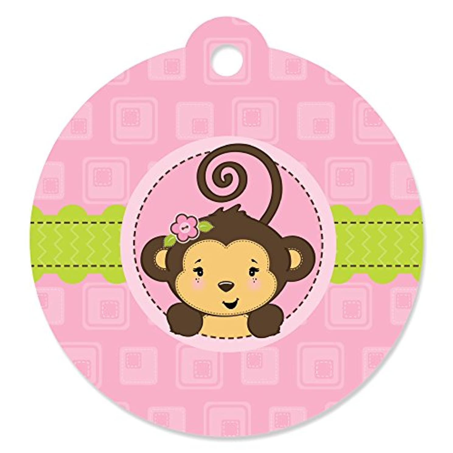Pink Monkey Girl - Baby Shower or Birthday Party Favor Gift Tags (Set of 20)