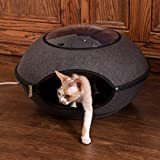 """K&H PET PRODUCTS Thermo-Lookout Pod Heated Cat Bed, Gray, 4W, 22"""" Round"""