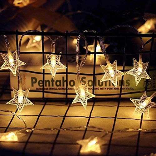 Twinkle Star 40 LED 14 FT Star String Lights Battery Operated, Fairy String Light for Home, Ramadan Party, Christmas, Wedding, Garden Decorations, Warm White