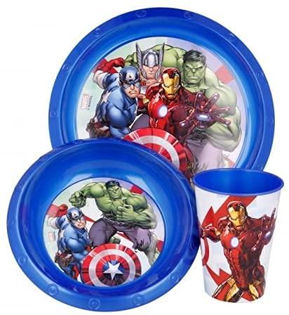 Set Stoviglie Servizio da Tavola per Bambini 3 Pezzi con Piatto, Ciotola e Bicchiere Easy 260 ml in confezione regalo (Avengers Supereroi)