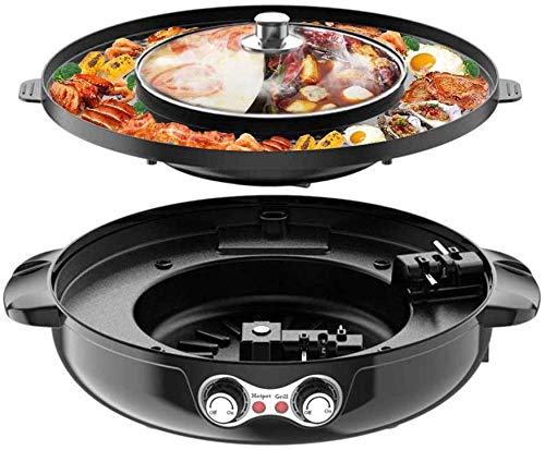 Best Price 4.5L Removable Hot Pot Upgraded Electric Indoor Grill, 2200W 16.5 ft Separable Shabu Shabu 4.5L Hot Pot With Electric Indoor And Outdoor Korean BBQ Smokeless Grill Non-Stick Pan For Gatherings