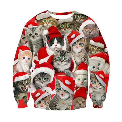 chicolife Unisexe Noël Laid Mignon Chat Pullover Festival personnalisé Impression Pull Sweatshirt pour Les garçons Adolescents Filles