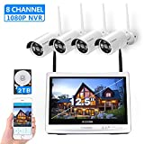 [8CH,Expandable]All in one with 12.5' Monitor Wireless Security Camera System, Cromorc Home Business CCTV Surveillance 8CH 1080P NVR, 4pcs 1.3MP 960P Outdoor Indoor Night Vision Camera, 2TB Hard Drive