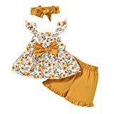 MAHUAOYIXI Conjunto de ropa de verano para bebé, con volantes, sin mangas, estampado floral, pajarita, manga corta, pantalones cortos y diadema, juego de 3 piezas naranja 3-4 años