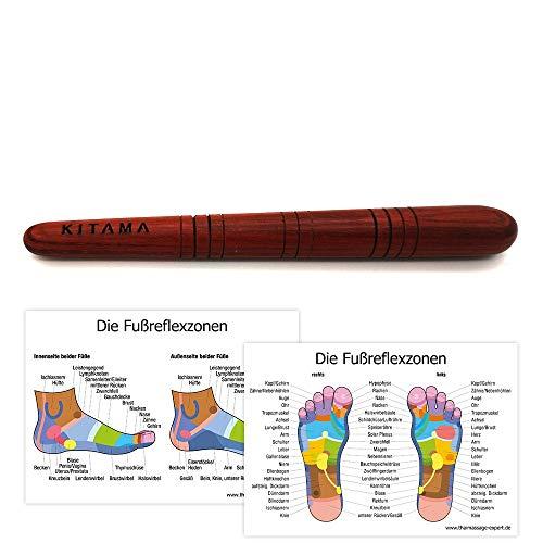 KITAMA Massage-Stab aus Holz/Deuserstab als Massagehilfe mit 2 DIN A4 Plakaten für Reflex-Zonen Massage Triggerpunkte