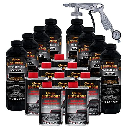 Custom Coat Black 2 Gallon (8 Quart) Urethane Spray-On Truck Bed Liner Kit with Spray Gun and...