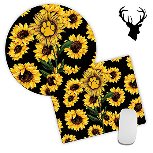 2 Pack Gaming Mouse Pad, Dog Footprints in Black Sunflowers Pattern Design Mouse mat, Round Mouse Pads for to Laptop and Desktop Computer,Cute Mousepad with 2x2 inch Deer Head Stickers