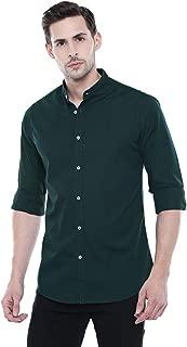Dennis Lingo Men's Solid Bottle Green Slim Fit Casual Shirt