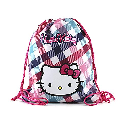 Hello Kitty Cabas de Fitness 40 cm Multicolore (Rose/Blanc/Bleu Clair/Vert)
