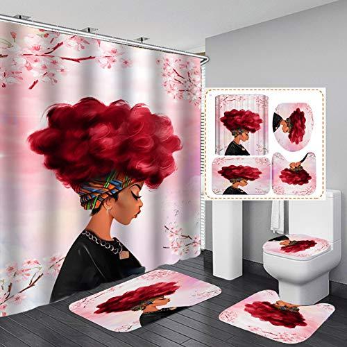 FashionundMan 4-teiliges Set Cool Girl Duschvorhang Wasserdicht Polyester Duschvorhang Afro Afrikanische Frau Blasenschauer Kaugummi Badezimmer Vorhang WC-Deckelbezug + 12 Haken 182,9 x 182,9 cm weinrot