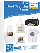 PJ Iron-On Heat Transfer Paper for White and Light Fabric, 20 Pack 8.3x11.7