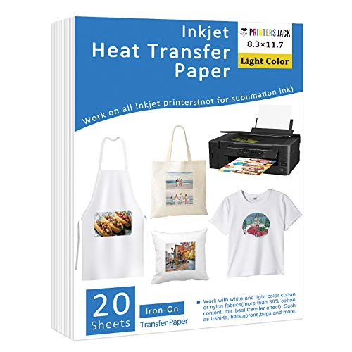 PRINTERS JACK Iron-On Heat Transfer Paper for White and Light Fabric, 20 Pack...