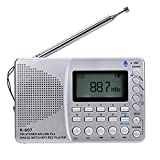 KDLK Radio portátil Am/FM/SW/TF Radio de Bolsillo MP3 Grabadora Digital Soporte Tarjeta TF Grabadora USB Rec Tiempo de Reposo