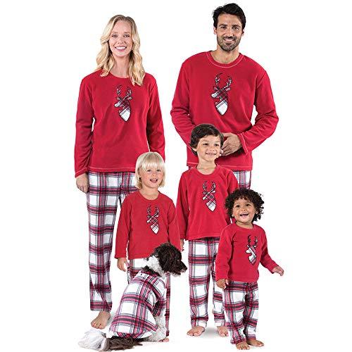 douleway Pyjama de Noël Famille, Vêtements de Nuit Costume Coton à Manches Courtes Chemises + Pantalons Longs Sweat Hiver Sweat de Noël Printemps pour Hommes Femmes Enfants