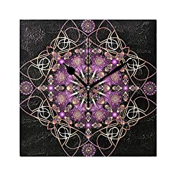 Ladninag Wall Clock Purple Mandala Beauty Silent Non Ticking Decorative Square Digital Clocks Indoor Outdoor Kitchen Bedroom Living Room