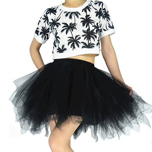 YSJERA Women's Tutu Tulle Mini A-Line Petticoat Prom Party Cosplay Skirt Fun Skirts (M, Black)