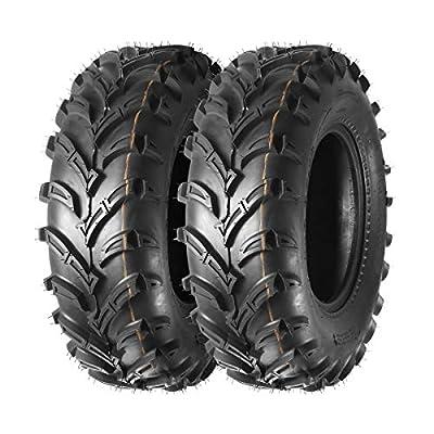 MaxAuto Front ATV Tires 25x8-12 UTV Tires 25x8x12 6Ply, Tubeless, 16mm Deep Tread, MaxLoad 340lb/7psi, Set of 2