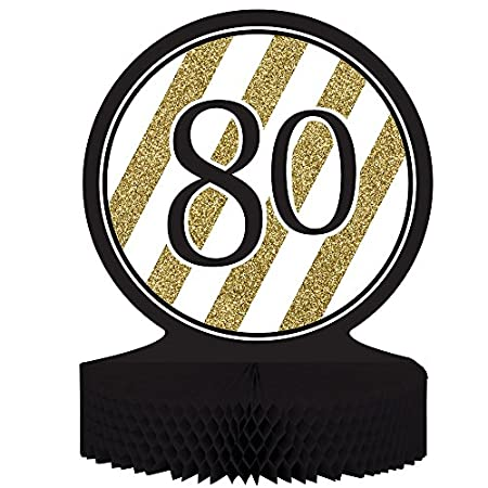 Black Gold 80th Birthday Party Decorations