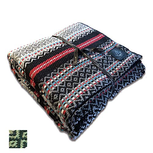 Craft Story Decke Bruno I grau-schwarz-rot-türkis-weiß gestreift aus 100% Baumwolle I Tagesdecke I Sofa-Decke I Couch-Überwurf I Bedspread I Plaid I 140 x 210cm