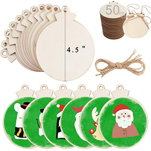 OurWarm 50pcs DIY Christmas Wooden Ornaments Unfinished, 4.5' Large Natural Wood Slices Predrilled with Hole Wooden Circles for Crafts Christmas Ornaments Decorations