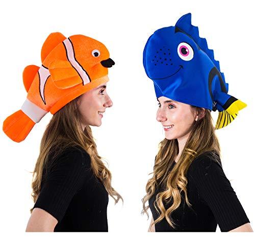 Tigerdoe Fish Hats – Clown Fish Hat – Tropical Fish Hat – Costume Hats – Under The Sea Party Hats (2 Pack) – Shark Hat (2 Pack Fish Hats) Blue Orange