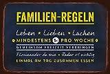 Grafik-Werkstatt Wand-Schild | Vintage-Art | Familienregeln | Retro | Nostalgic Deko Blechschild, Metall, Uni, 30 x 20 cm