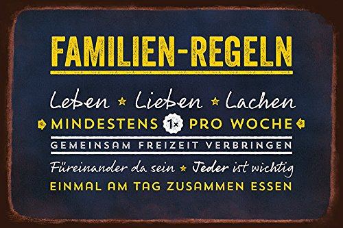 Grafik Werkstatt Bielefeld 60462 Blechschild Vintageart Familien-regeln