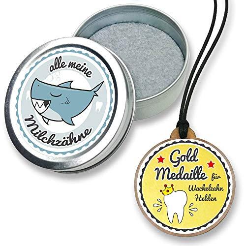 FANS & Friends melktanddoos met medaille voor jongens en meisjes, met gratis e-Book, tandendoos voor melktanden, tandfee doos voor doop, eerste schooldag, verjaardag haai
