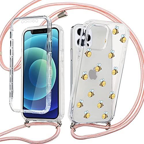 Eouine Capa transversal para celular Huawei P20 Lite [5,7 polegadas] 360° com protetor de tela integrado e alça ajustável no pescoço - Capa de silicone TPU transparente antiarranhões à prova de choque