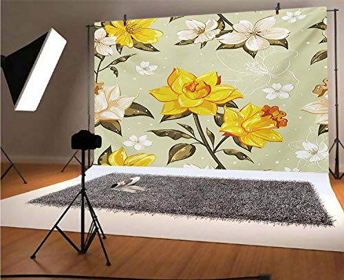 Flower 20x10 FT Vinyl Photography Background Backdrops,Classy Spring Floral Narcissus Branch Pattern with Dots and Line Artwork Background for Photo Backdrop Studio Props Photo Backdrop Wall
