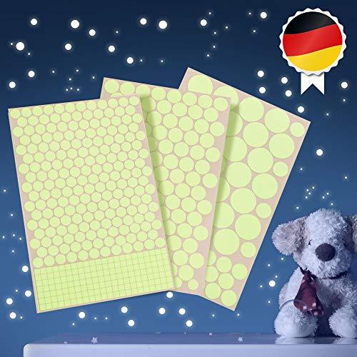 Paraboo Leuchtpunkte, Leuchtsterne - 524 Aufkleber selbstklebend, Fluoreszierende Leuchtsticker für deinen Sternenhimmel, Leuchtende Aufkleber Kinderzimmer