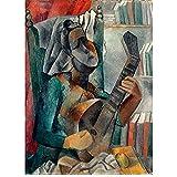 ZNNHEROPablo Picasso Mujer con Una Mandolina Lienzo Pinturas Carteles Impresiones Arte De La Pared para La Decoración De La Sala De Estar-60X80Cmx1 Sin Marco