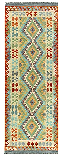 HAMID Alfombra Kilim Herat - 100% Lana Tejida a Mano - Alfombra étnica de salón, Dormitorio, Comedor (204x73cm)