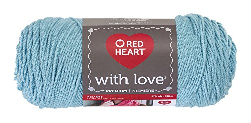Red Heart E400.1502 With Love Yarn, Solid-Iced Aqua