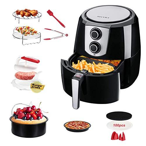 Bundle Secura Electric Hot Air Fryer 5.5QT Healthy Oil-free Cooker & 11pcs FDA Air Fryer Accessories