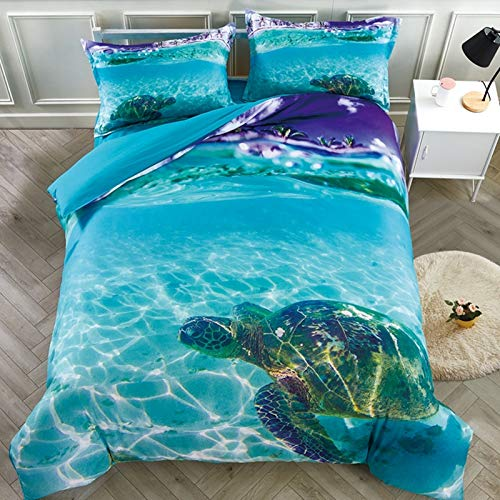 Beddinginn 3D Turtle Bedding Animal Print Kids Duvet Cover Set Turtle in The Blue Limpid Ocean Print...