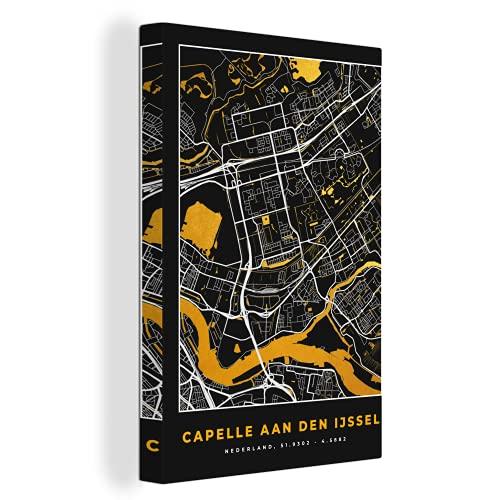 Canvas Schilderijen - Plattegrond - Capelle aan den IJssel - Goud - Zwart - 90x140 cm - Wanddecoratie - canvas met 2cm dik frame