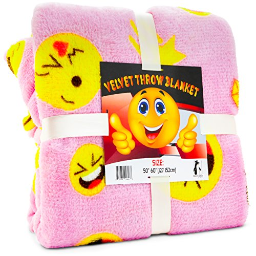 Pink Emoji Throw Blanket, Adorable Soft Large Fluffy Lightweight Emoticon Blanket for Girls and Boys, Toddlers Kids Teens and Young Adults (50in x 60in)