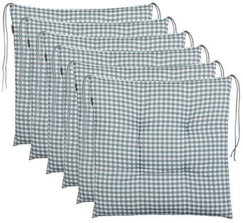 Brandsseller Sitzkissen Stuhlkissen kariert Kissen Sitzpolster Garten Auflage - 40 x 40 cm - anthrazit, hellgrau, braun, beige (6er-Paket, Grau)