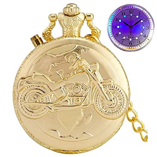 Reloj de bolsillo de cuarzo liso vintage con diseño retro de motocicleta, reloj de bolsillo de cuarzo, LED luminoso, diseño MOTO, cadena de regalo para hombres