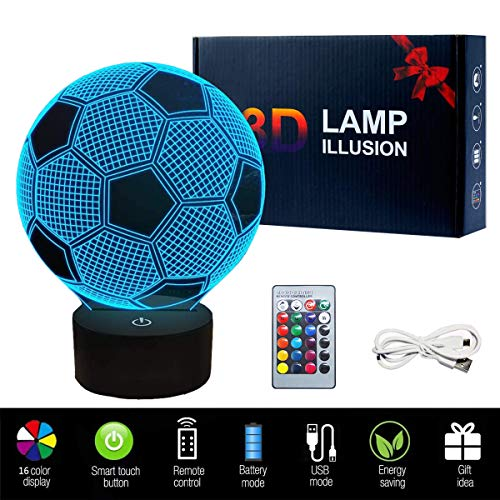 3D Football LED Night Light, USB Charging LED Night Lamp with 16 Colors Changing Touch Switch and Remote Control Perfect Decoration for Bedroom and Gifts for Kids/Birthday/Christmas