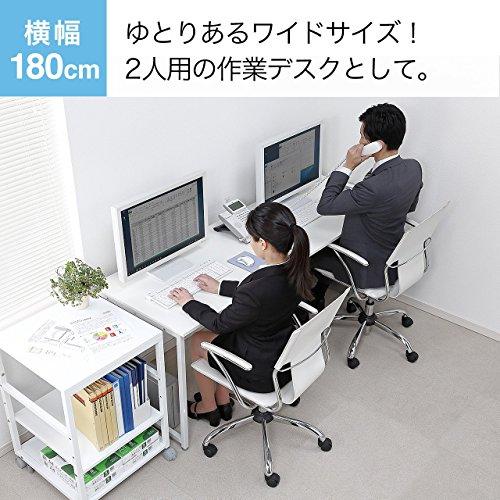 サンワダイレクトシンプルワークデスク幅180cm×奥行き60cm組立簡単モニターアーム取付対応パソコンデスクパソコン台ホワイト100-DESKF007