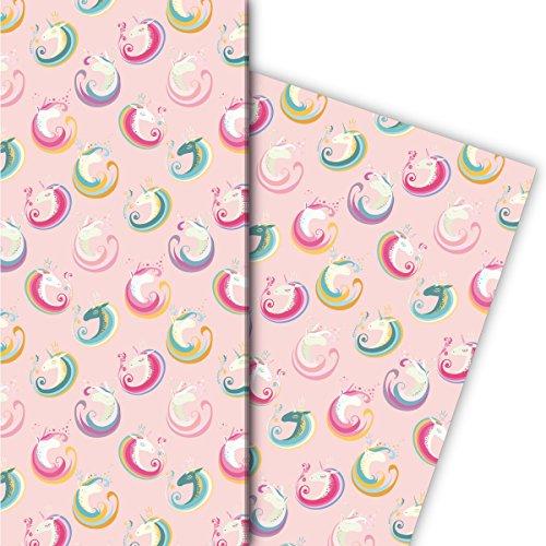 Kartenkaufrausch Zauberhaftes Geschenkpapier Set mit magischem Einhorn für tolle Geschenk Verpackung, Designpapier, scrapbooking, 4 Bogen, 32 x 48cm, auf rosa