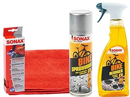SONAX BIKE Reiniger Fahrradreiniger E-Bike-Reiniger Microfasertuch & Sprühwachs, SET