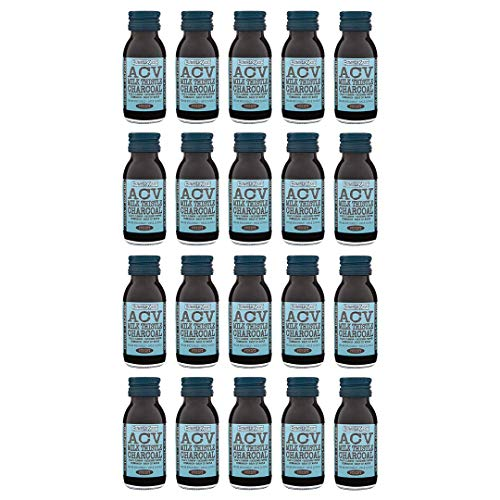BumbleZest Detox + Defend Drink – ACV & Charcoal Shot Drinks – Apple Cider Vinegar, Milk Thistle & Activated Charcoal – Aids Digestion & Metabolism – Vegan & Low in Calories – 60ml (Pack of 20)