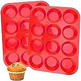 Molde de Silicona para Magdalenas , 2 Piezas Bandeja roja de silicona con 12 huecos, 1 cepillo de aceite,no se pega, para Muffins, Cupcake, Brownie, Budín