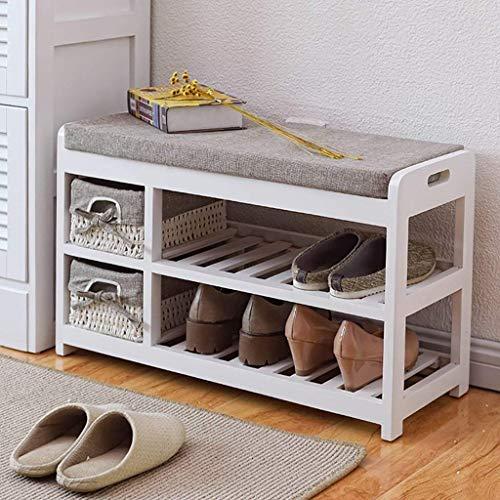 Equipo para el hogar Moderno Zapatero de madera maciza Asiento suave Cojín Estante de almacenamiento Banco de almacenamiento que ahorra espacio Estantes para zapatos de 70 * 28 * 42 cm Estante para